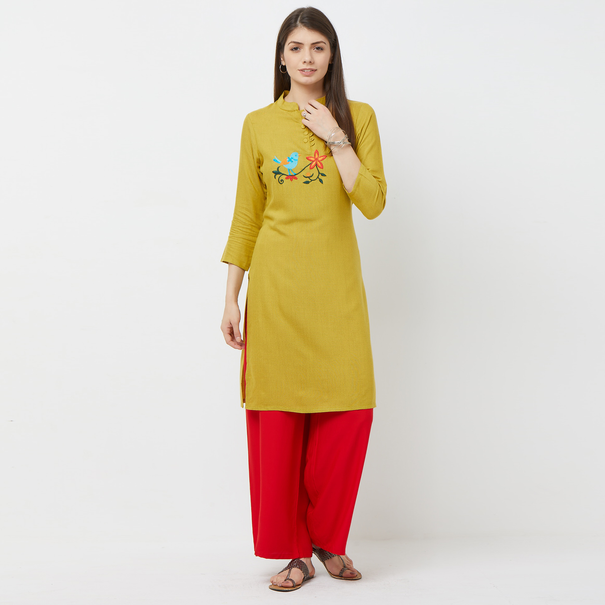 Classy Green Colored Casual Embroidered Cotton Kurti