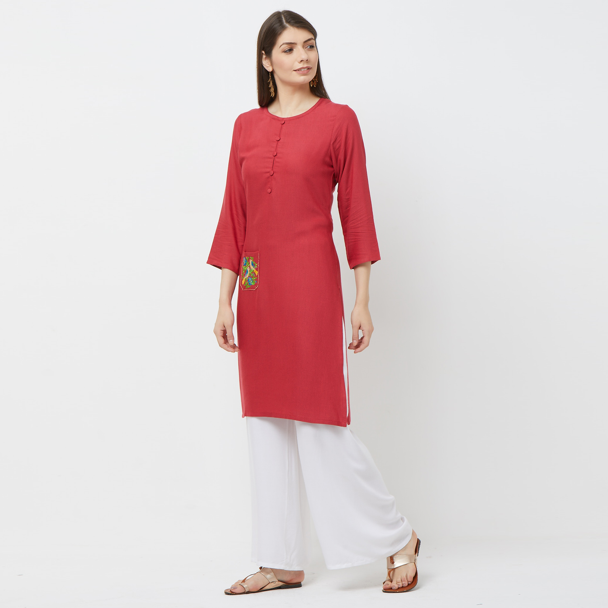 Appealing Pink Colored Casual Embroidered Cotton Kurti