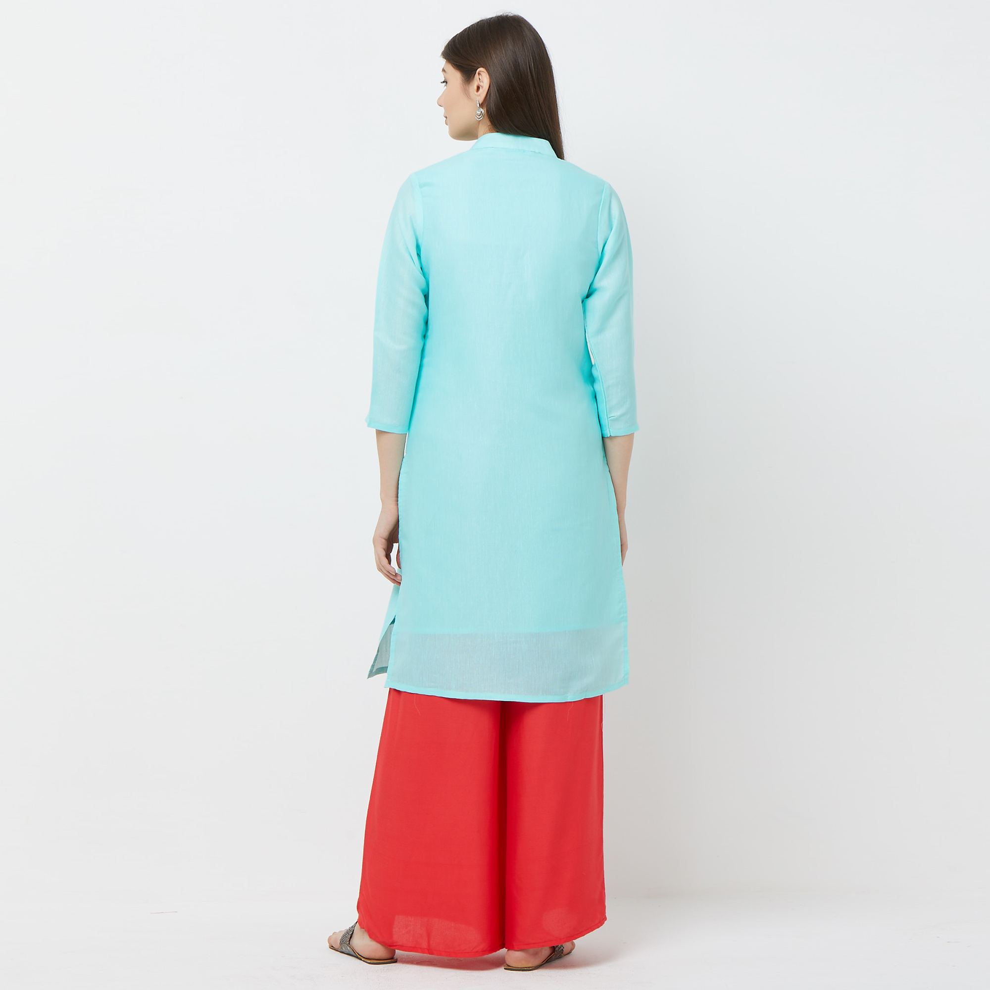 Capricious Sky Blue Colored Casual Embroidered Cotton Kurti
