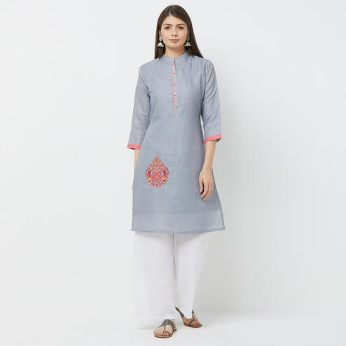 Entrancing Gray Colored Casual Embroidered Cotton Kurti