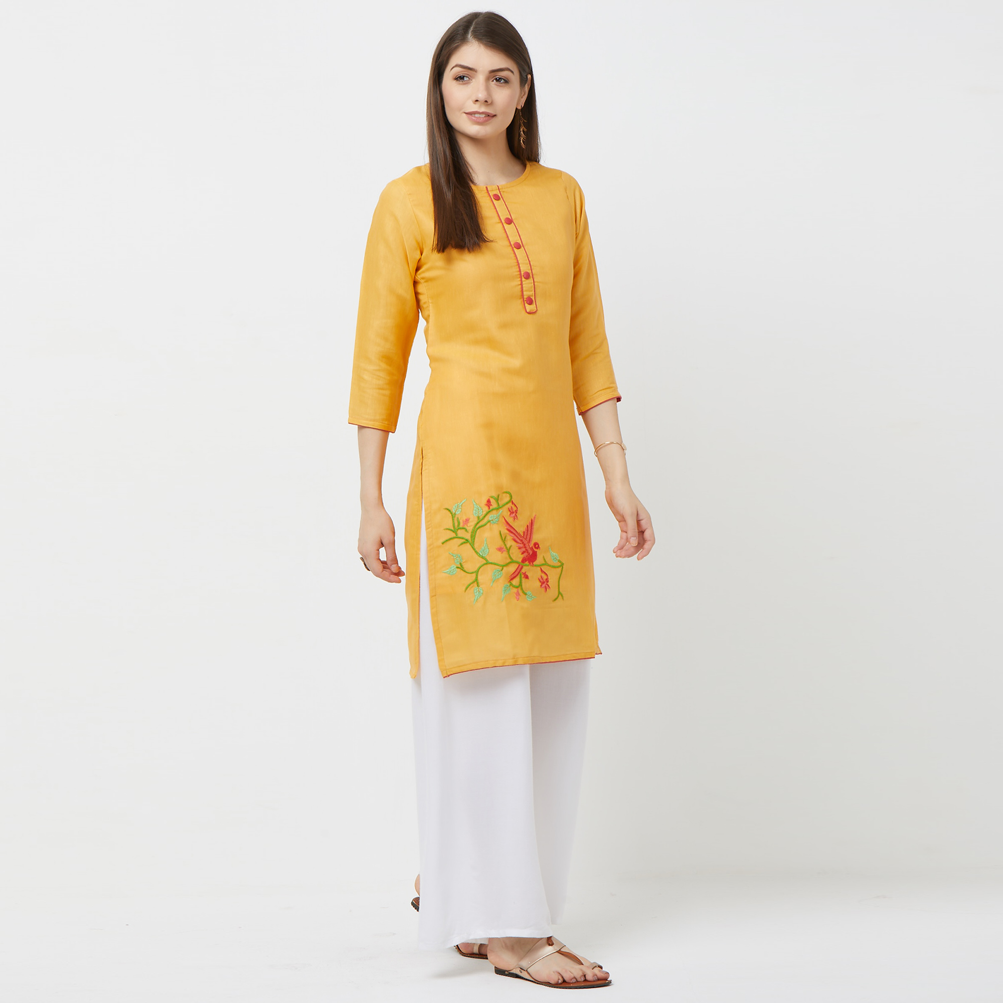 Groovy Yellow Colored Casual Embroidered Cotton Kurti