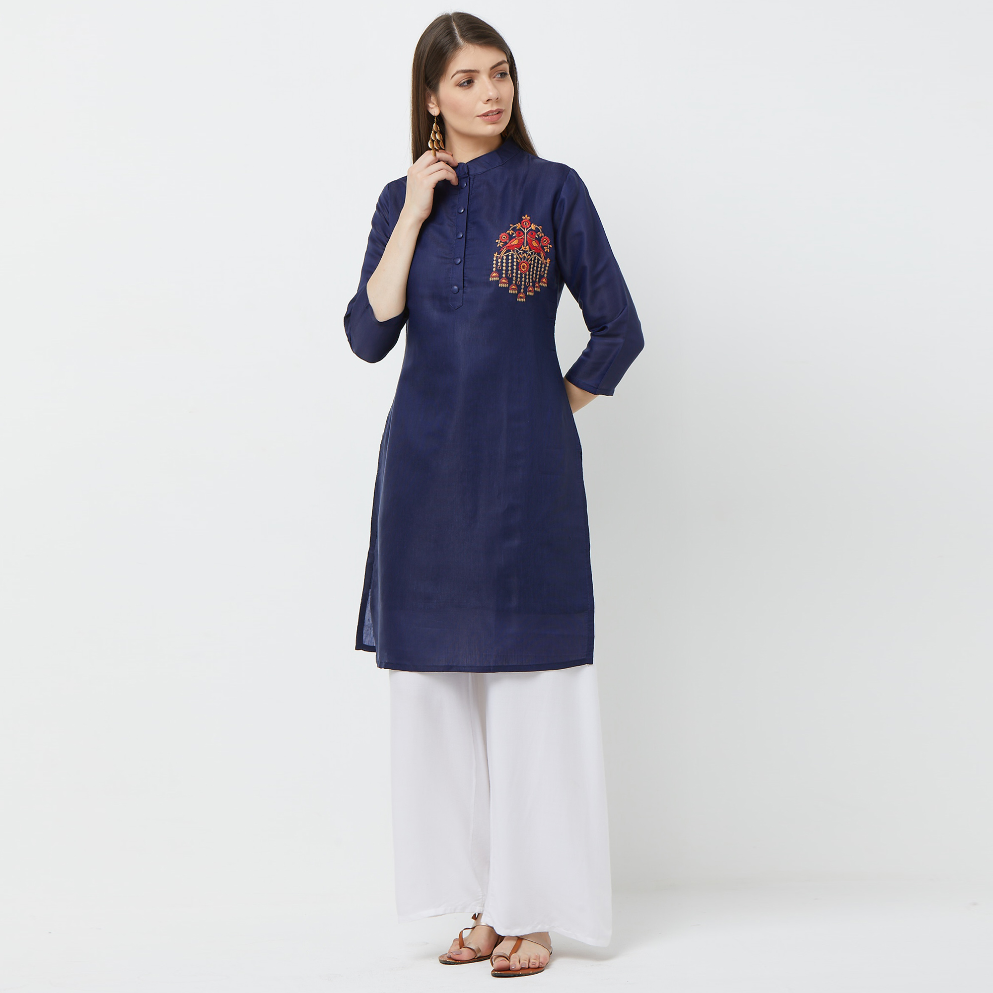 Elegant Navy Blue Colored Casual Embroidered Cotton Kurti