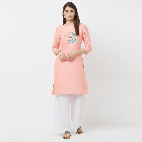Radiant Pink Colored Casual Embroidered Cotton Kurti