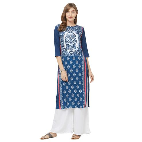 Imposing Blue Colored Casual Printed Crepe Kurti