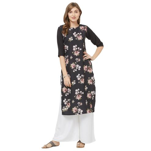 Lovely Black Colored Casual Printed Crepe Kurti