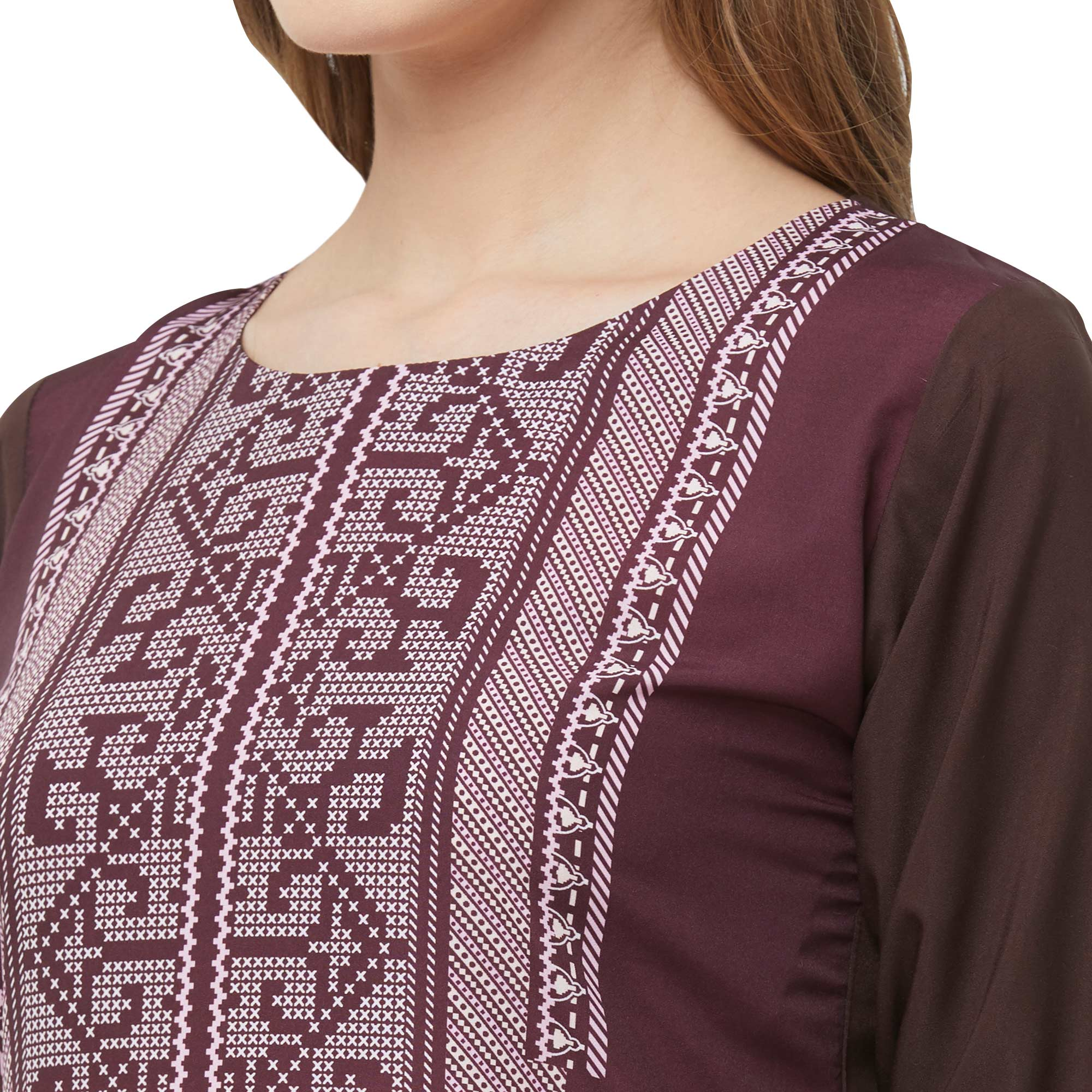 Impressive Coffee Brown Colored Casual Printed Crepe Kurti