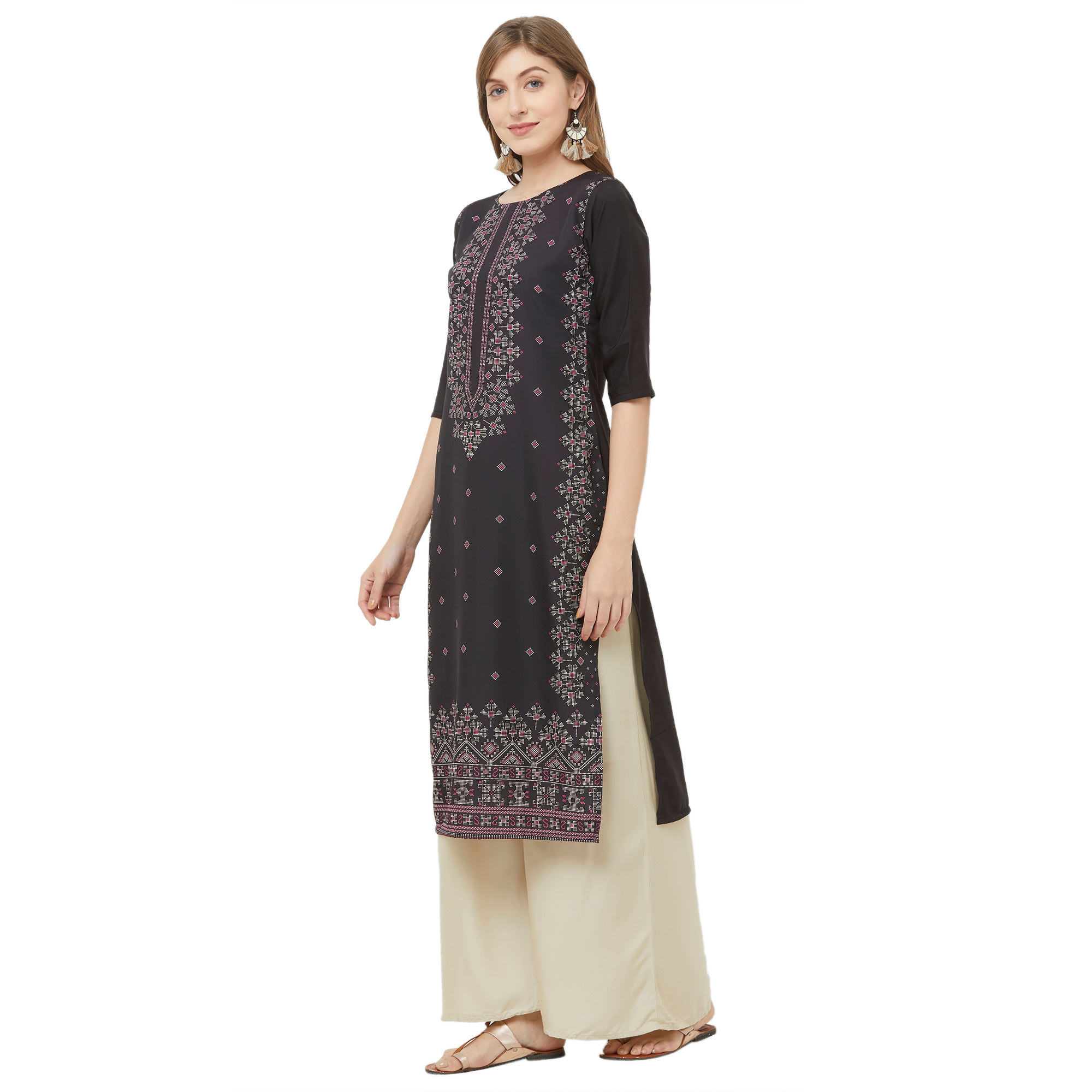 Mesmerising Black Colored Casual Printed Crepe Kurti