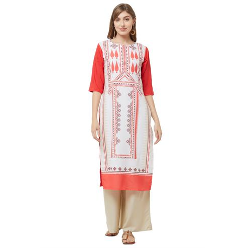 Pleasance White Colored Casual Printed Crepe Kurti