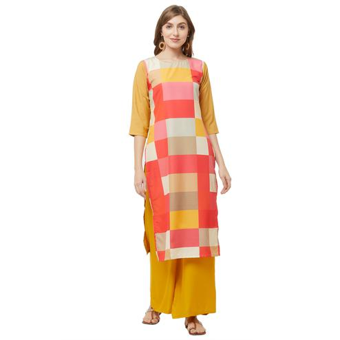 Breathtaking Multi Colored Casual Printed Crepe Kurti