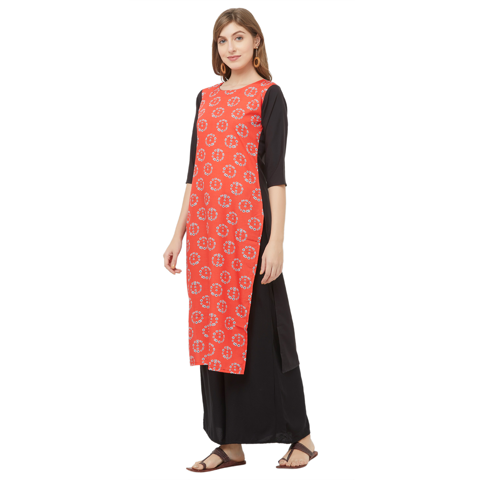 Ethnic Coral Red Colored Casual Printed Crepe Kurti