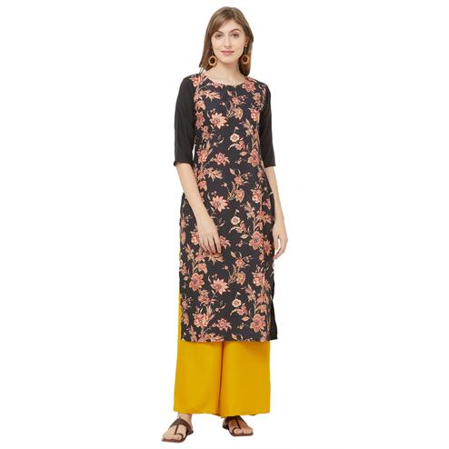 Ravishing Black Colored Casual Printed Crepe Kurti