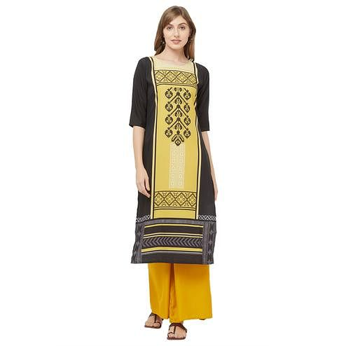 Staring Yellow-Black Colored Casual Printed Crepe Kurti