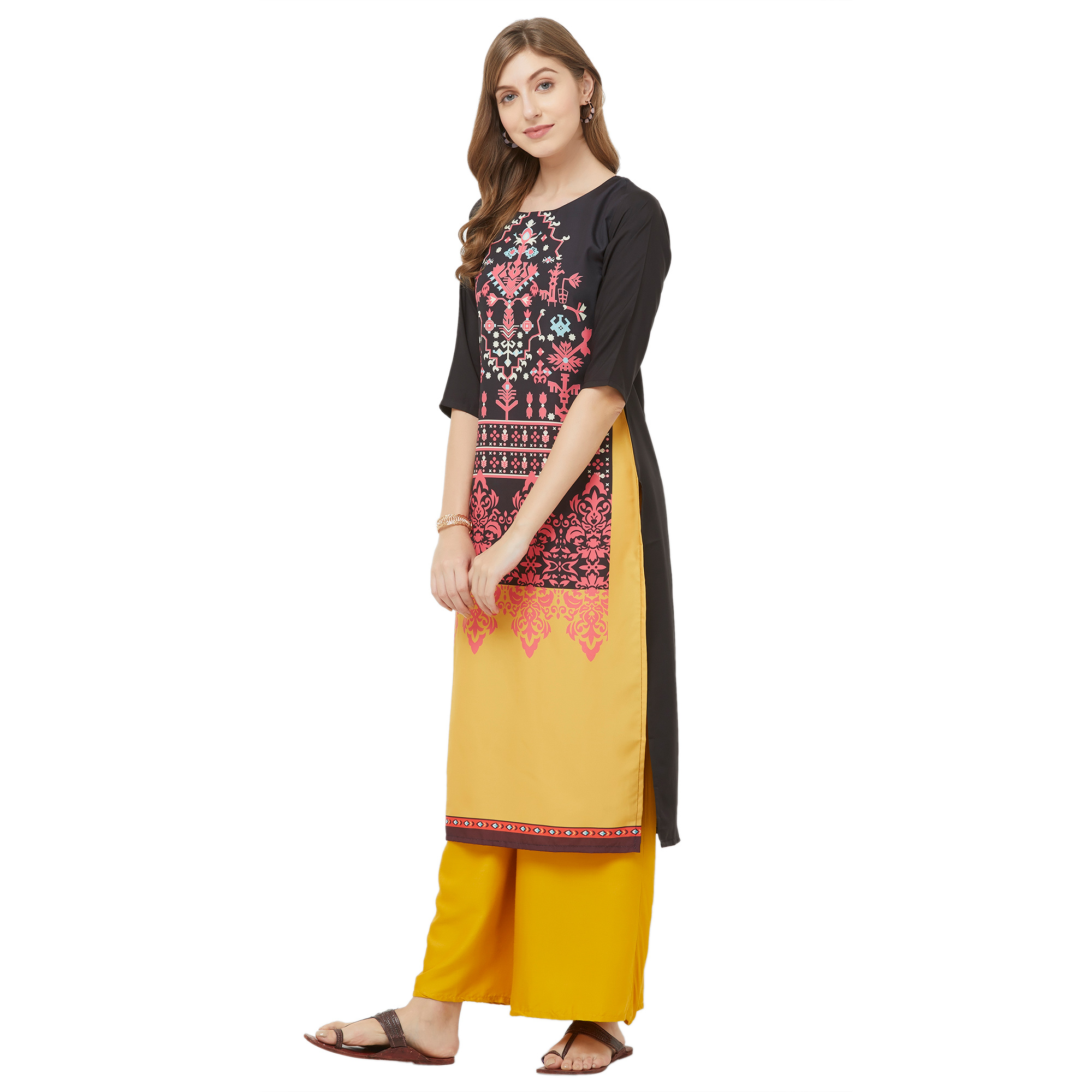 Dazzling Black-Yellow Colored Casual Printed Crepe Kurti