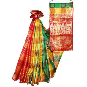 Arresting Yellow-Green Colored Festive Wear Woven Banarasi Silk Saree