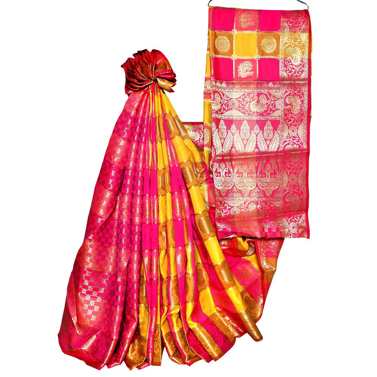 Desirable Yellow-Pink Colored Festive Wear Woven Banarasi Silk Saree