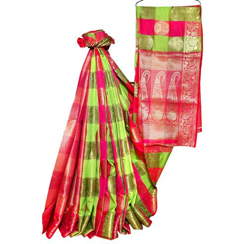 Exotic Green-Pink Colored Festive Wear Woven Banarasi Silk Saree