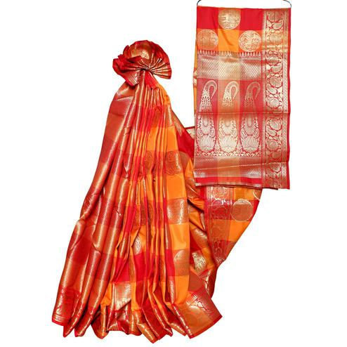 Sophisticated Orange-Red Colored Festive Wear Woven Banarasi Silk Saree