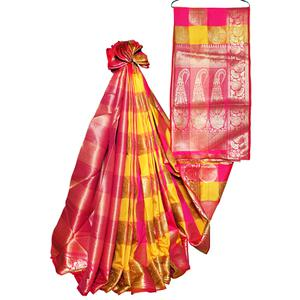 Trendy Yellow-Pink Colored Festive Wear Woven Banarasi Silk Saree
