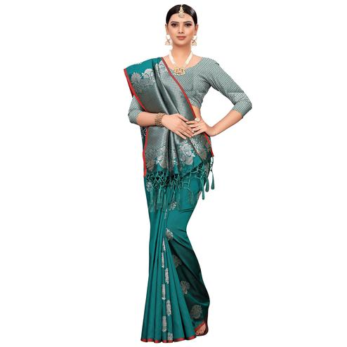 Elegant Teal Green Colored Festive Wear Woven Banarasi Silk Saree