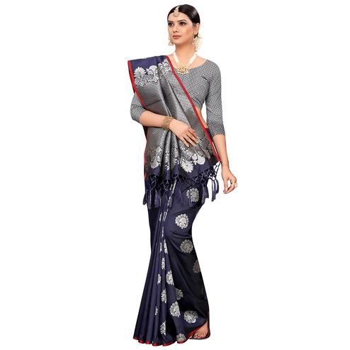 Radiant Navy Blue Colored Festive Wear Woven Banarasi Silk Saree