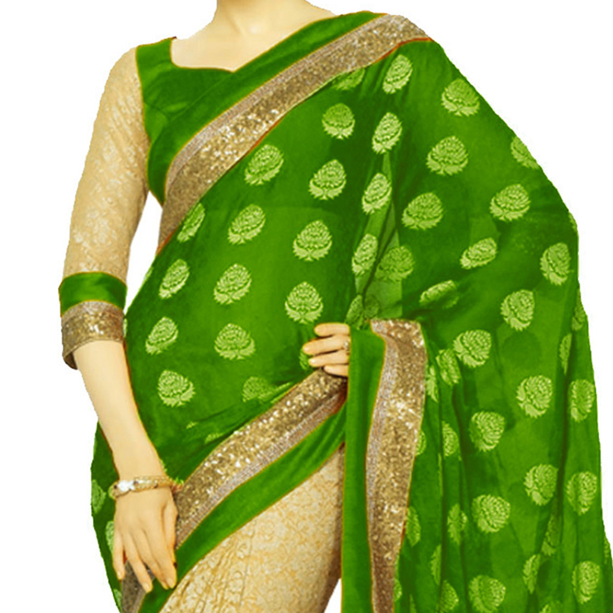Green - Cream Georgette Half Saree with Foil Work