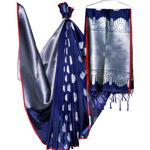 Glowing Navy Blue Colored Festive Wear Woven Banarasi Silk Saree
