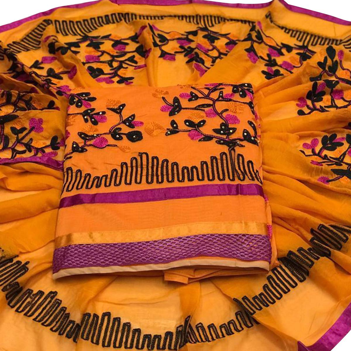 Fantastic Light Orange Colored Embroidered Partywear Chanderi Silk Dress Material