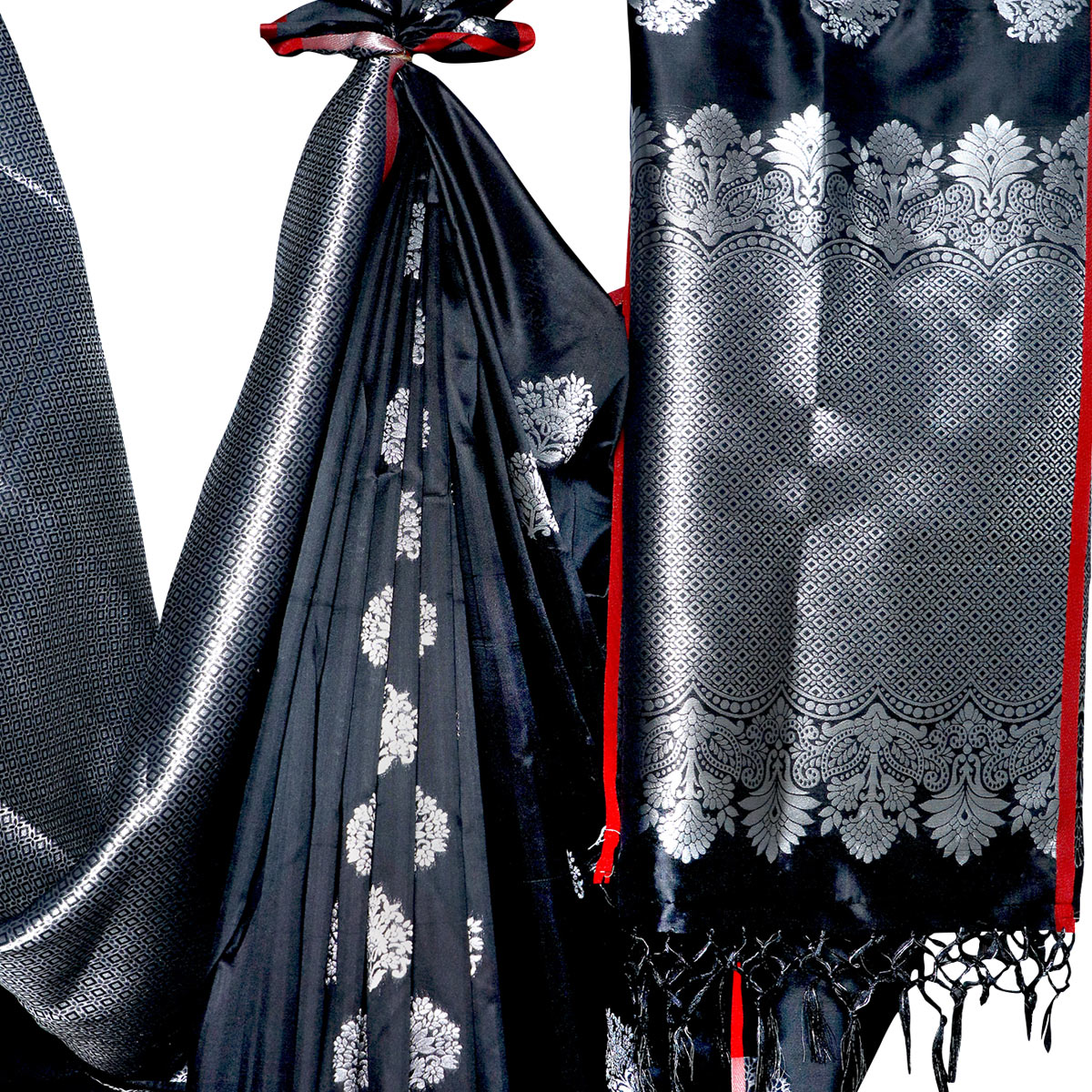 Mesmeric Black Colored Festive Wear Woven Banarasi Silk Saree