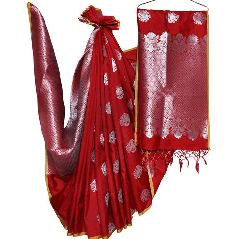 Unique Maroon Colored Festive Wear Woven Banarasi Silk Saree