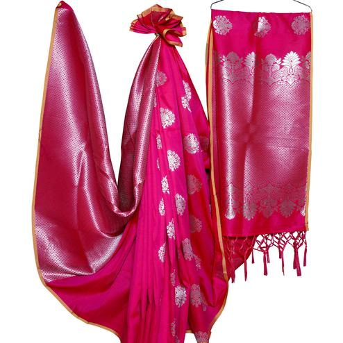 Demanding Pink Colored Festive Wear Woven Banarasi Silk Saree