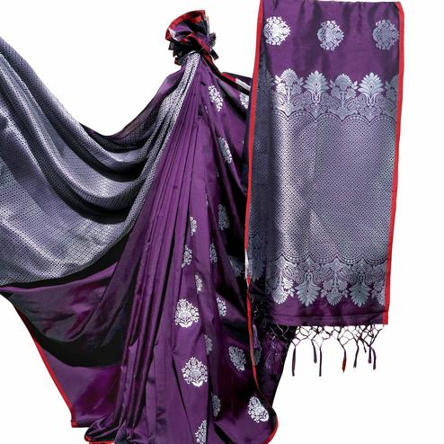 Refreshing Purple Colored Festive Wear Woven Banarasi Silk Saree
