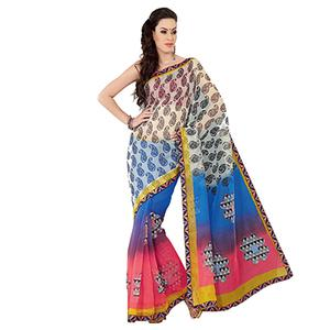 Multicolored Paisley Printed Super Net Saree