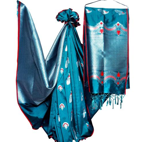 Hypnotic Rama Blue Colored Festive Wear Woven Banarasi Silk Saree