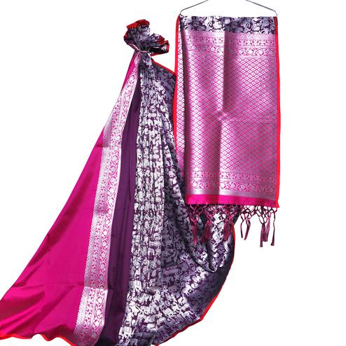 Excellent Purple-Pink Colored Festive Wear Woven Banarasi Silk Saree