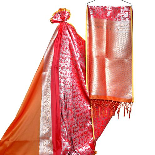 Preferable Red-Orange Colored Festive Wear Woven Banarasi Silk Saree
