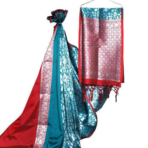 Marvellous Rama Blue-Red Colored Festive Wear Woven Banarasi Silk Saree