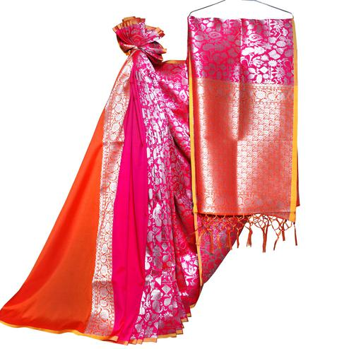 Flamboyant Pink-Orange Colored Festive Wear Woven Banarasi Silk Saree