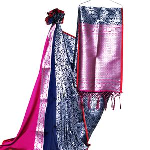 Pretty Navy Blue-Pink Colored Festive Wear Woven Banarasi Silk Saree