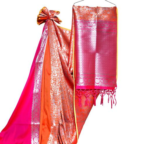 Alluring Orange-Pink Colored Festive Wear Woven Banarasi Silk Saree