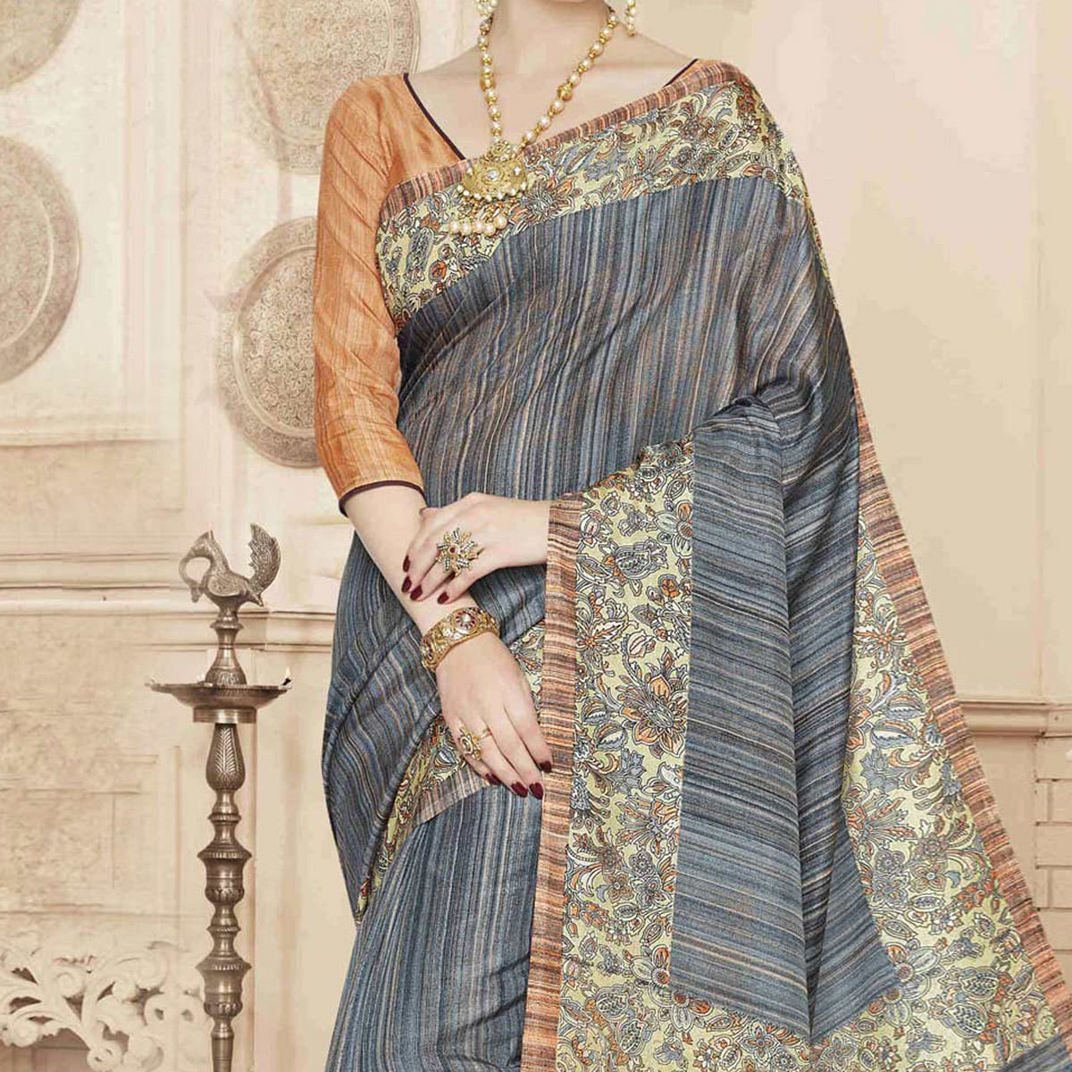 Grey Printed Border Cotton Saree