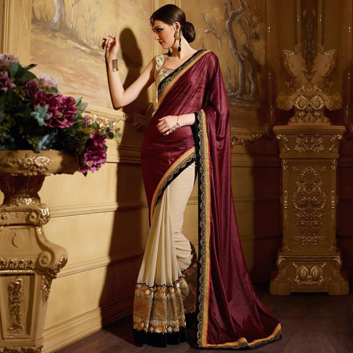 Enchanting Maroon - Tan Wedding Saree