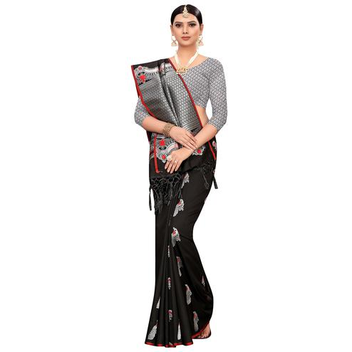 Stunning Black Colored Festive Wear Woven Banarasi Silk Saree