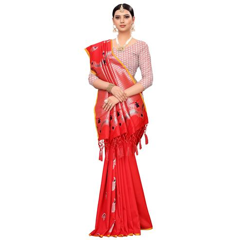 Flirty Red Colored Festive Wear Woven Banarasi Silk Saree