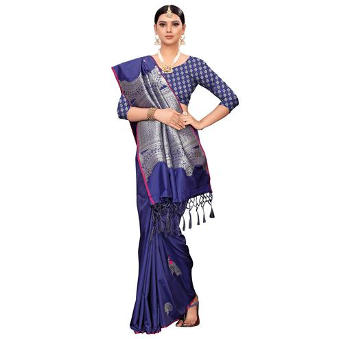 Classy Navy Blue Colored Festive Wear Woven Banarasi Silk Saree