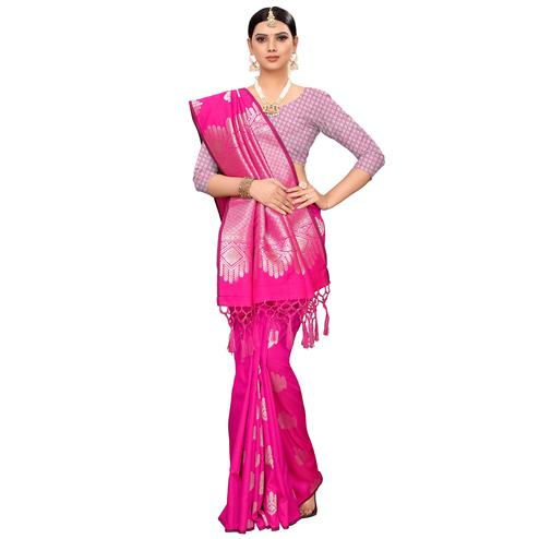 Adorning Pink Colored Festive Wear Woven Banarasi Silk Saree