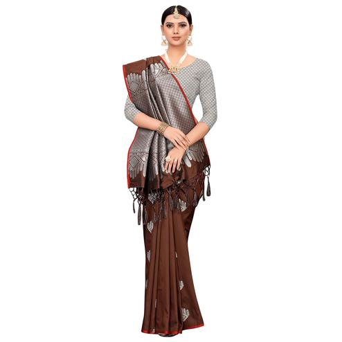 Appealing Coffee Brown Colored Festive Wear Woven Banarasi Silk Saree