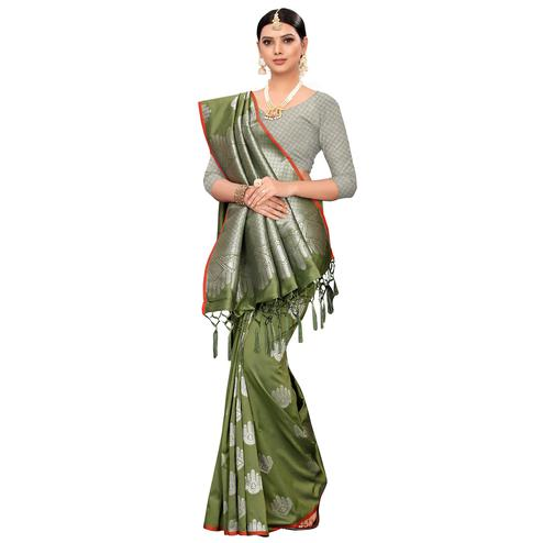 Capricious Olive Green Colored Festive Wear Woven Banarasi Silk Saree