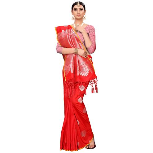 Prominent Red Colored Festive Wear Woven Banarasi Silk Saree