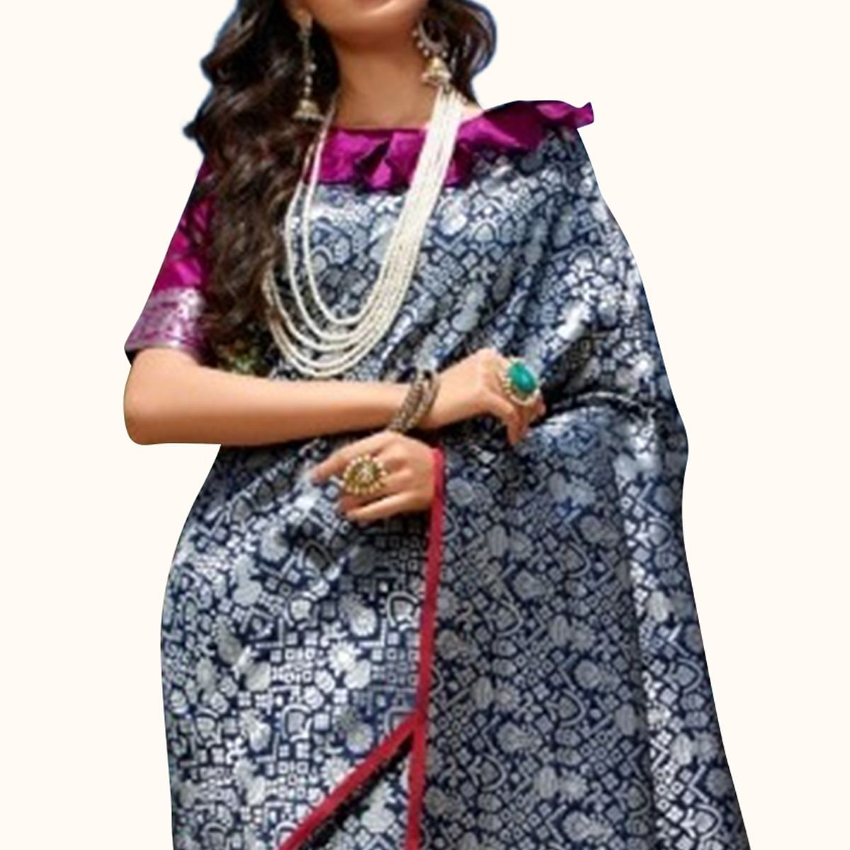 Glorious Navy Blue Colored Festive Wear Printed Silk Saree