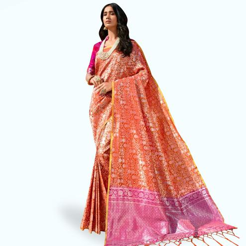 Attractive Orange Colored Festive Wear Printed Silk Saree